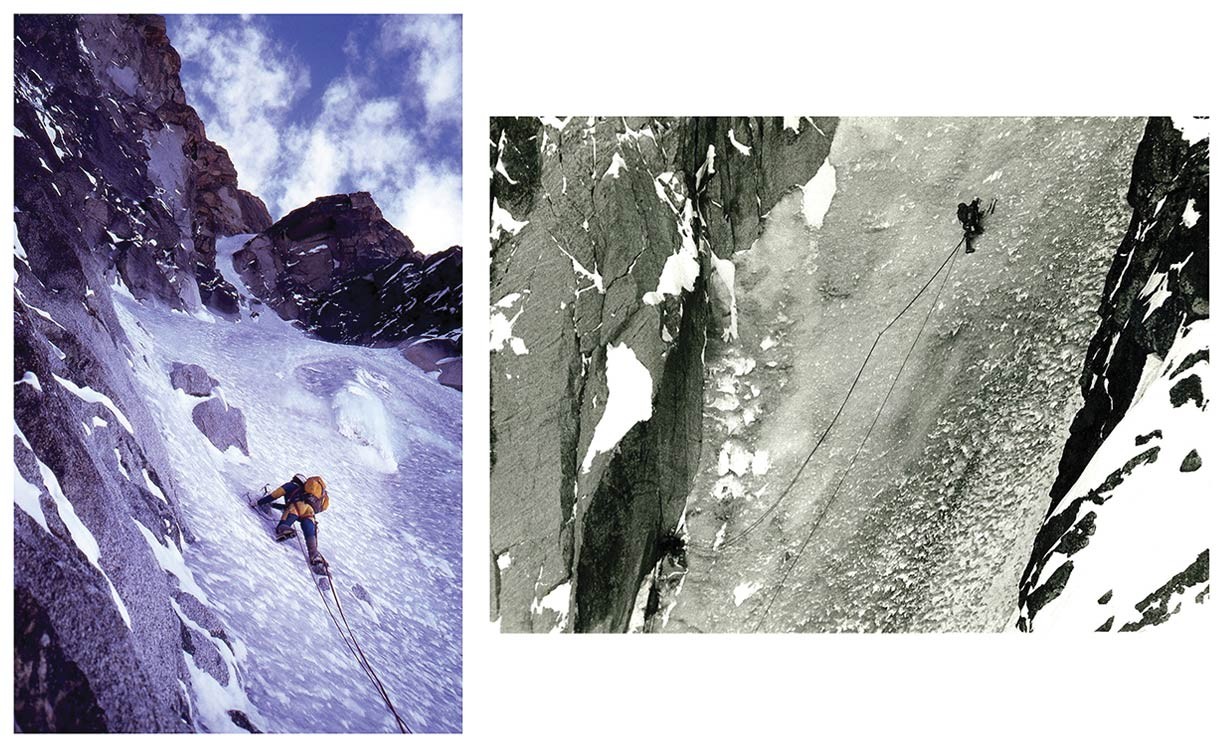 Color photo of a man climbing ice using ice climbing tools such as ice axes and crampons