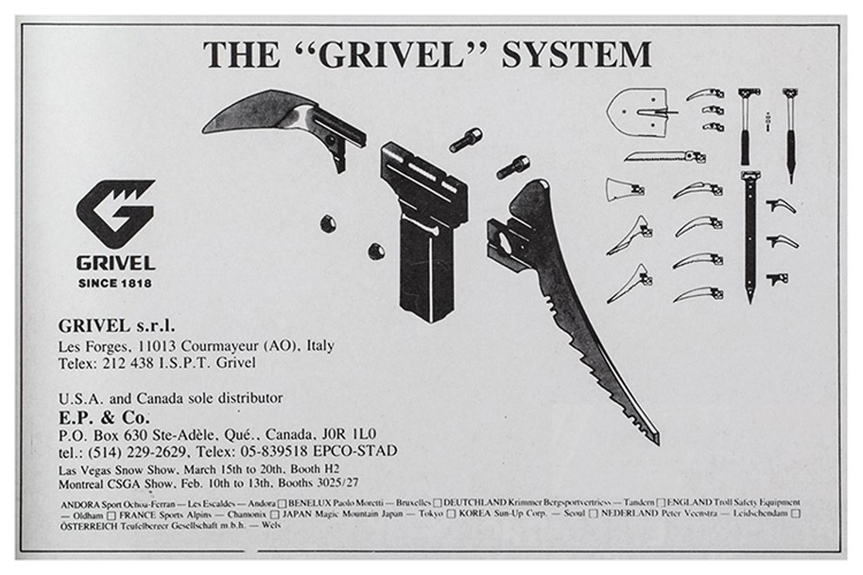 A diagram of interchangable parts including the blade of a Grivel ice axe