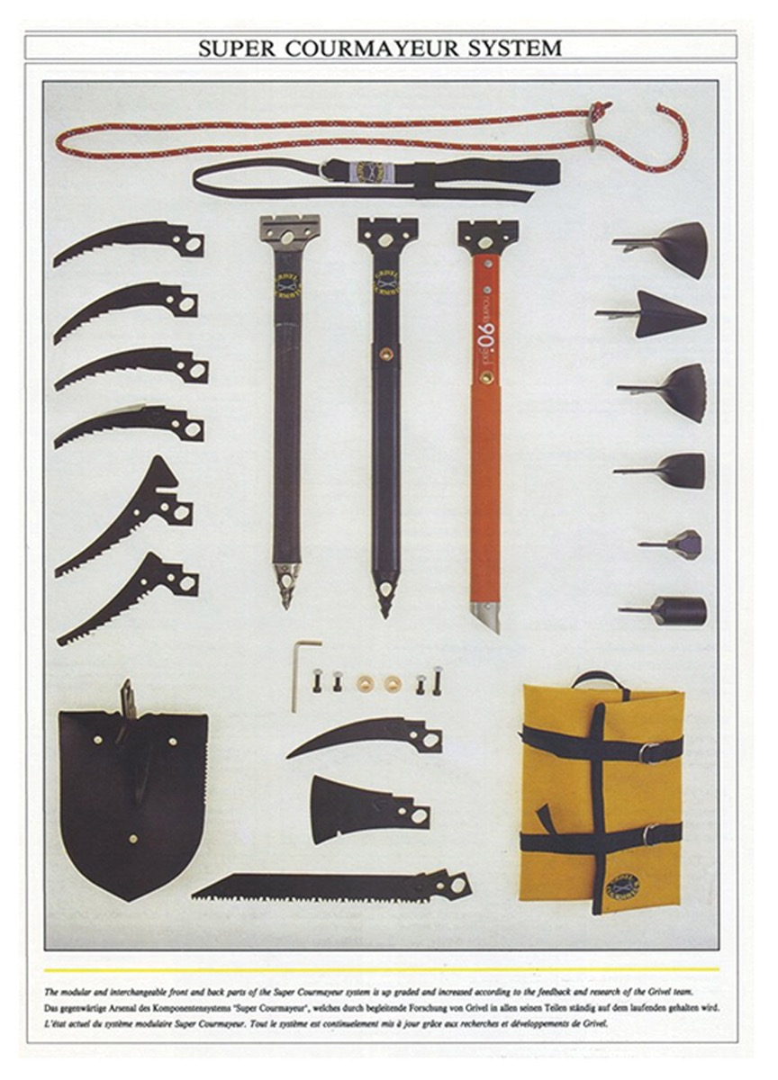 A diagram of parts for Grivel ice axes including blades, handles, and tools used for ice climbing