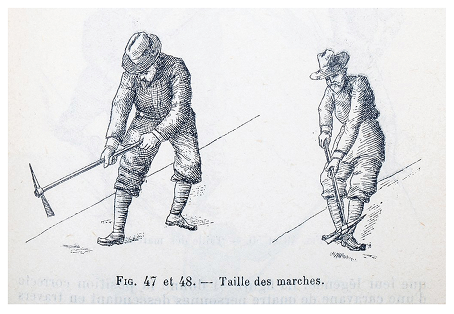 A drawing of early ice climbers using ice axes to cut steps for ice climbing and mountaineering